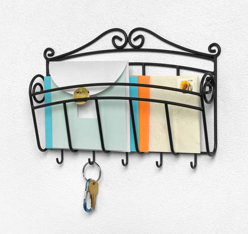 Scroll letter holder and key rack in mail organizers - Mail holder and key rack ...