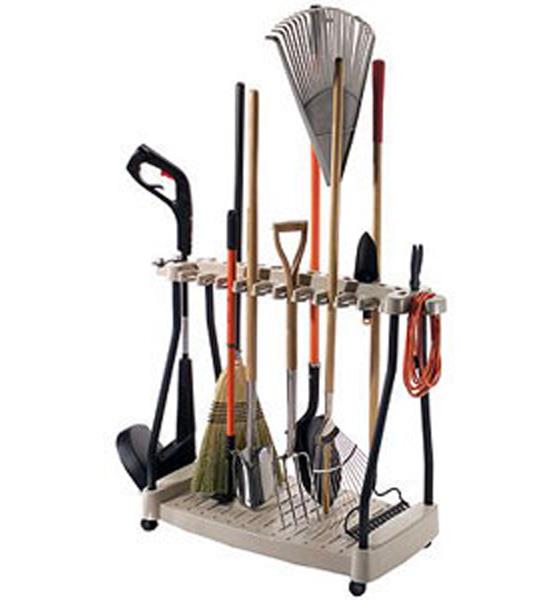 Yard tool organizer rack in garden tool storage for Yard and garden equipment