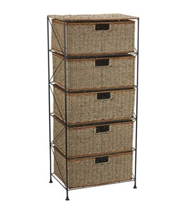 Seagrass-Rattan 5 Drawer Unit by Household Essentials Image