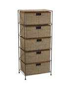 Seagrass-Rattan 5 Drawer Unit by Household Essentials