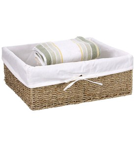 Canvas Lined Seagrass Basket - Large Image