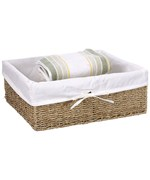 Canvas Lined Seagrass Basket - Large