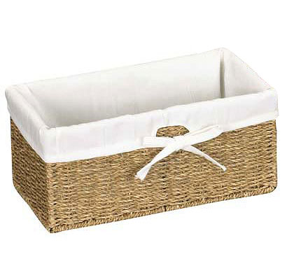 ... Canvas Lined Seagrass Basket   Small