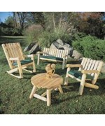 Log Seating Set with Table by Rustic Natural Ceder