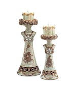 Set of 2 Vintage Rose Candle Holders by O.R.E.