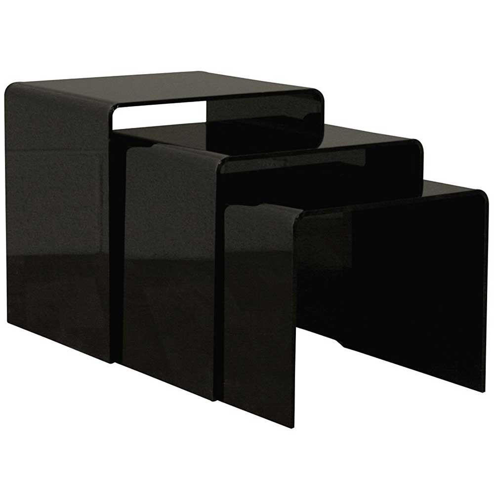 Set of three black acrylic nesting end tables by wholesale