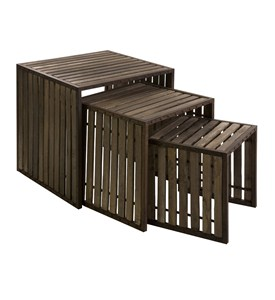 Set of 3 Vermont Iron and Wood Nesting Tables by IMAX Image