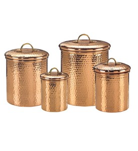 Set of 4 Solid Copper Hammered Canisters Image