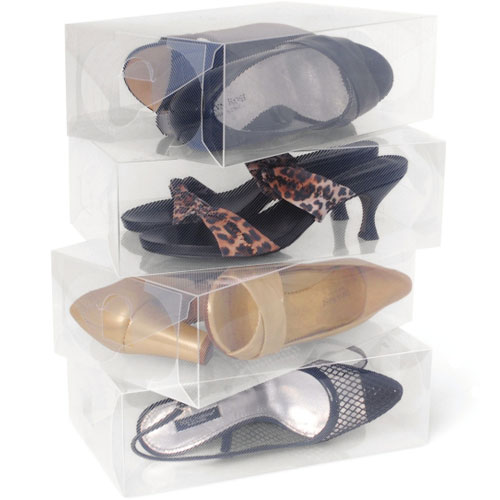 Clear Plastic Womens Shoe Storage Boxes (Set of 10) Image