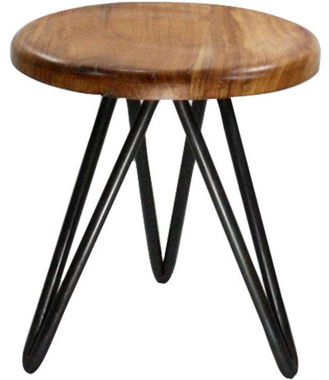 Short Metal And Wood Stool In Modern Bar Stools