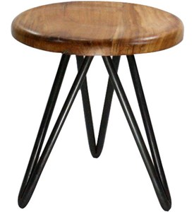 Short Metal and Wood Stool Image