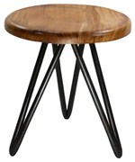 Short Metal and Wood Stool