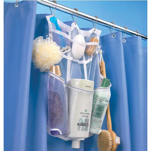 Mesh Shower Rod Organizer In Shower Caddies