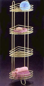 Brass Corner Bathroom Shelf Tower Image
