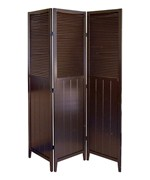 3-Panel Shutter Door Room Divider - Espresso