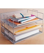 Silver Mesh Stackable Paper Tray