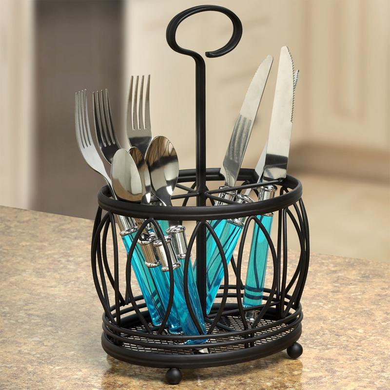 Silverware Caddy - Leaf Design in Kitchen Utensil Holders