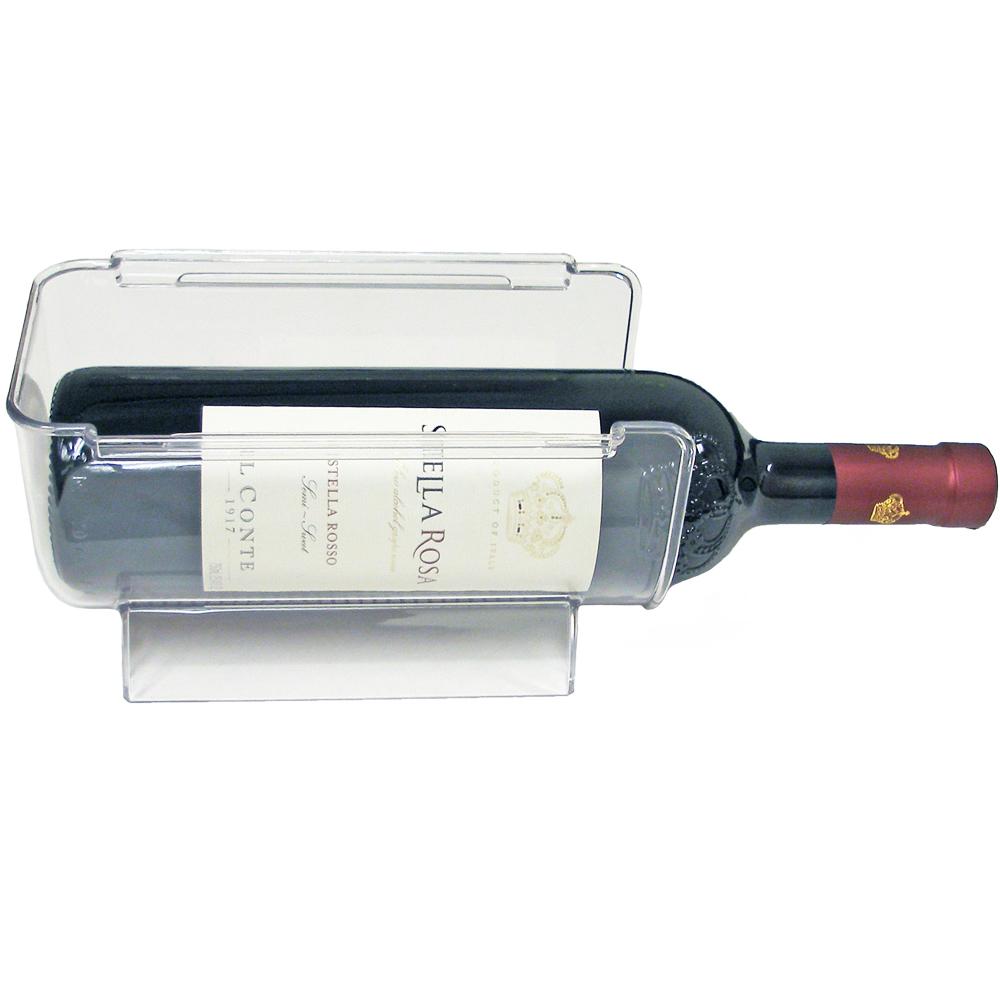 single wine bottle holder in refrigerator storage