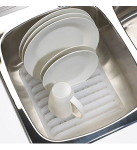 In-Sink Plastic Dish Rack - White Image