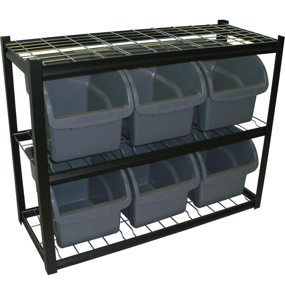 Six Bin Shelving Unit in Plastic Storage Bins