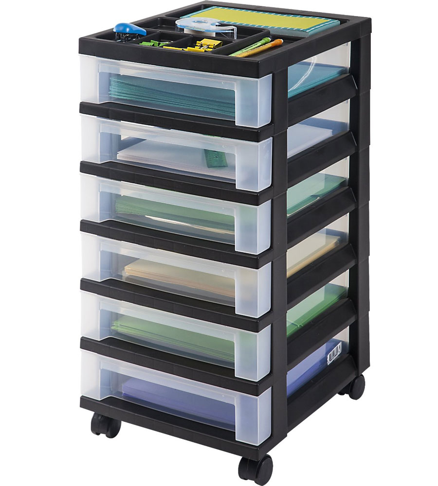 Six Drawer Office Storage Chest Black Image