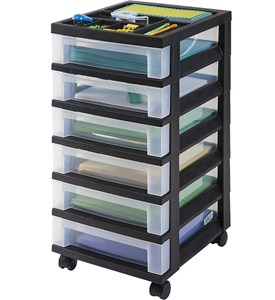 Six Drawer Office Storage Chest - Black Image