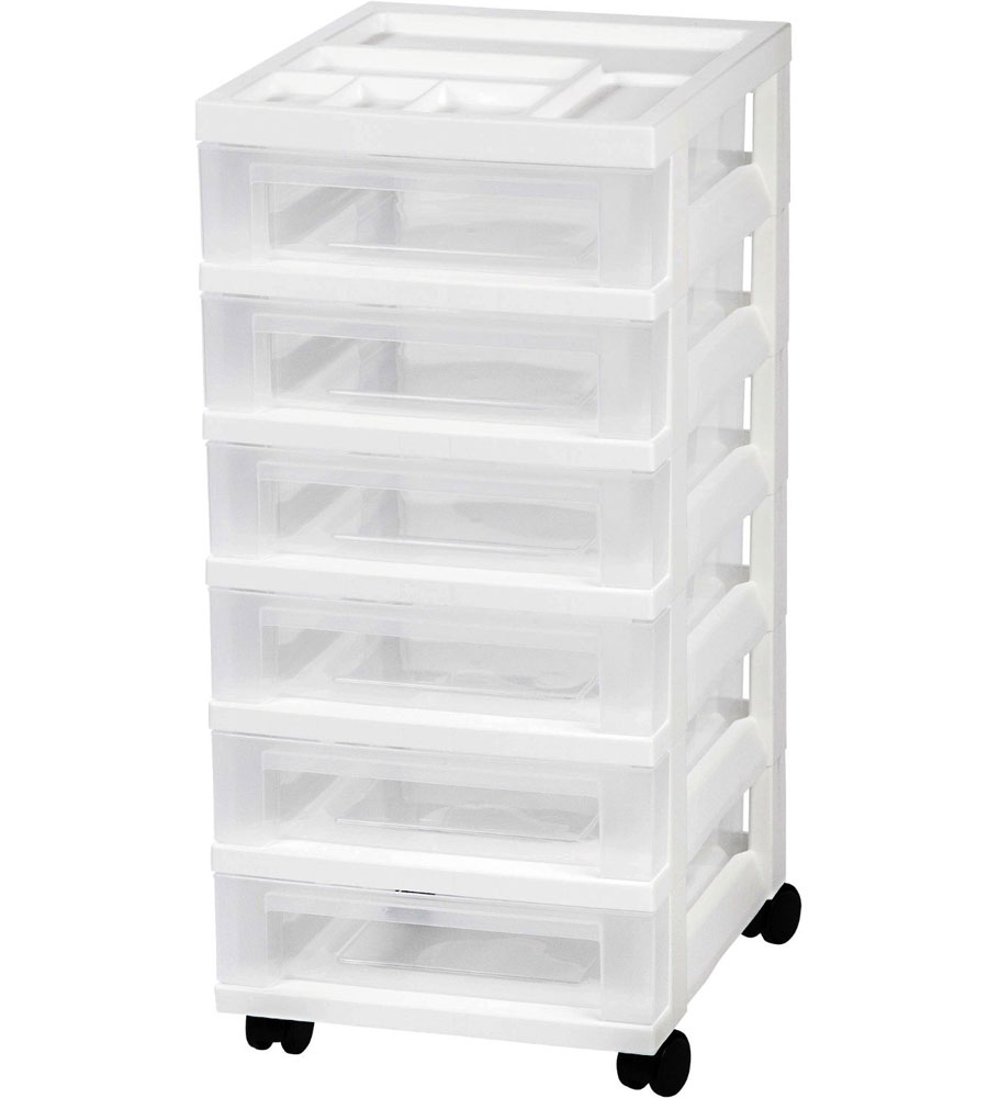 Six Drawer Office Storage Chest   White Image