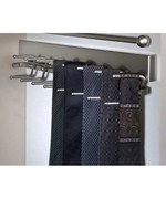 Deluxe Sliding Tie Rack - Brushed Satin Chrome