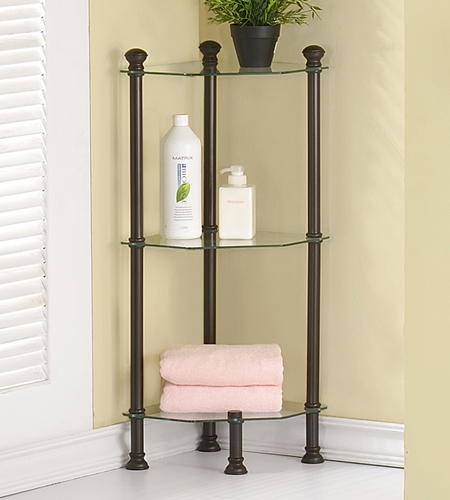 small corner etagere in bathroom shelves