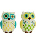 Small Salt and Pepper Shakers - Floral Owls