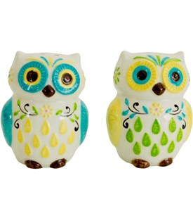 Small Salt and Pepper Shakers - Floral Owls Image