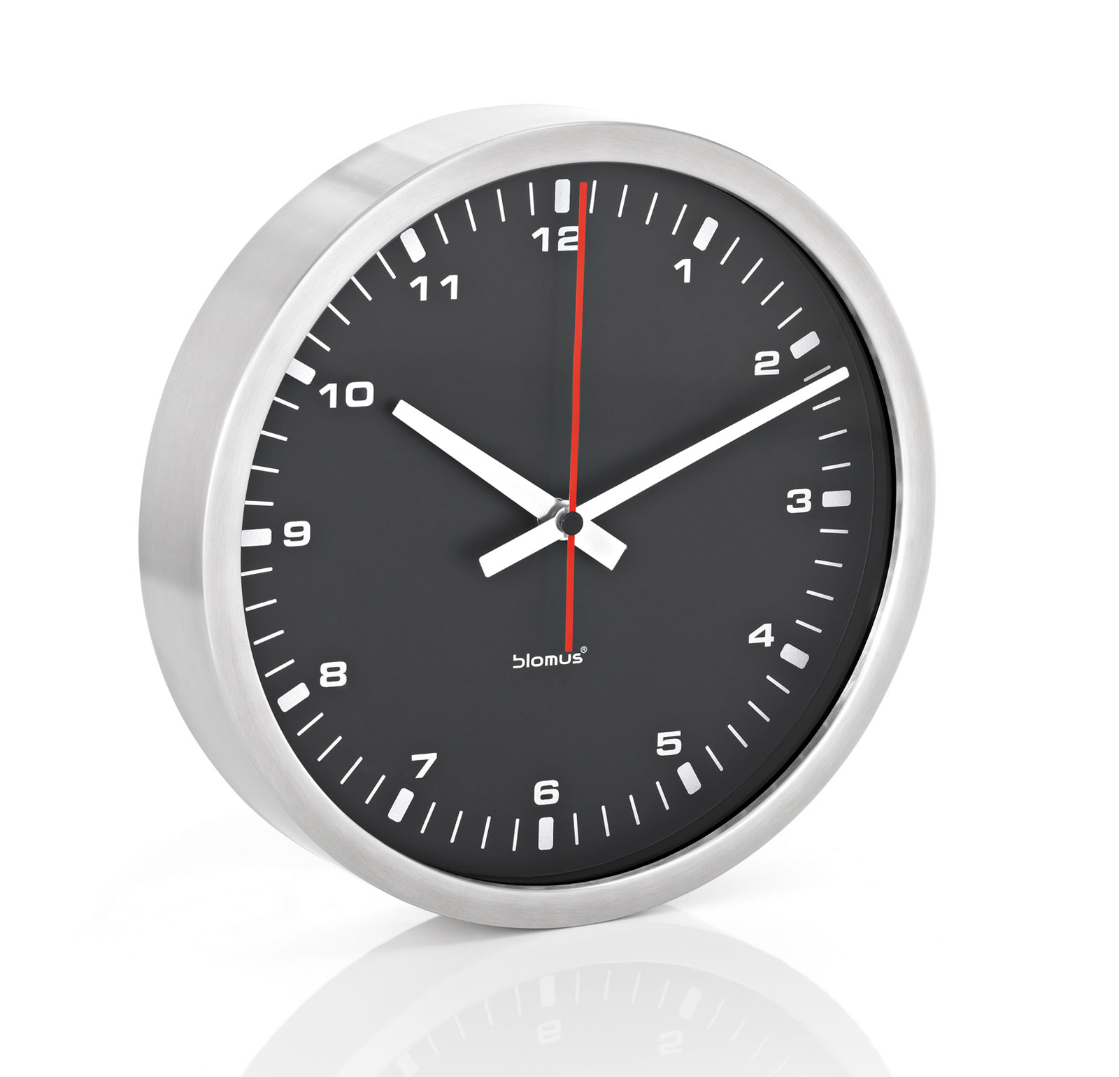 small stainless contrasting wall clock by blomus in wall. Black Bedroom Furniture Sets. Home Design Ideas