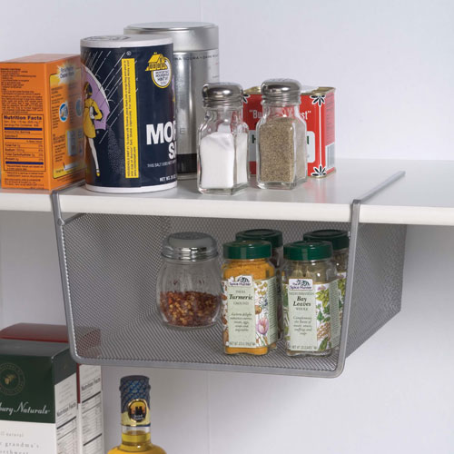 Silver Mesh Under Shelf Storage Basket Small In Under