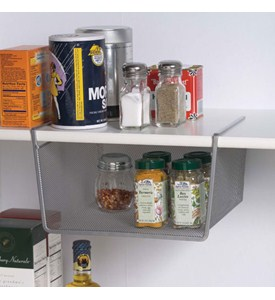 Silver Mesh Under Shelf Storage Basket - Small Image