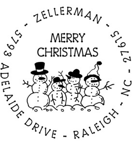 Snow Family Personalized Holiday Address Stamp Image