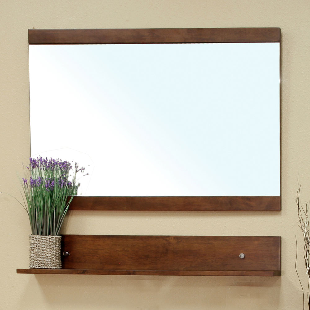 Solid Wood Frame Mirror Cabinet With Shelf By Bellaterra