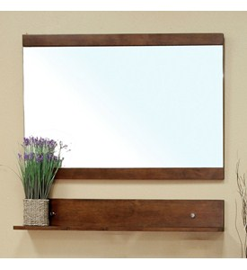 Solid Wood Frame Mirror Cabinet with Shelf by Bellaterra Home Image