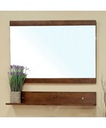 Solid Wood Frame Mirror Cabinet with Shelf by Bellaterra Home