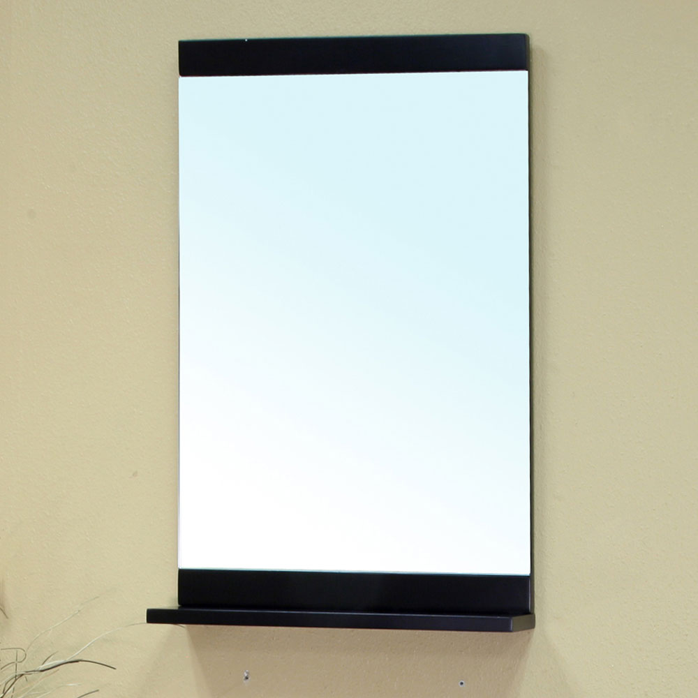 Solid wood frame mirror with ledge by bellaterra home in for Wood framed mirrors