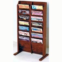 Cascade Solid Wood Literature Rack - 14 Pocket by Wooden Mallet Image