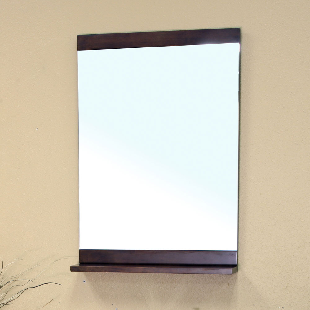 Solid wood small ledge shelf frame mirror by bellaterra for Small wood framed mirrors