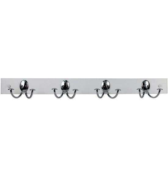 Double hook wood rack white chrome in wall coat racks for White wall hook rack