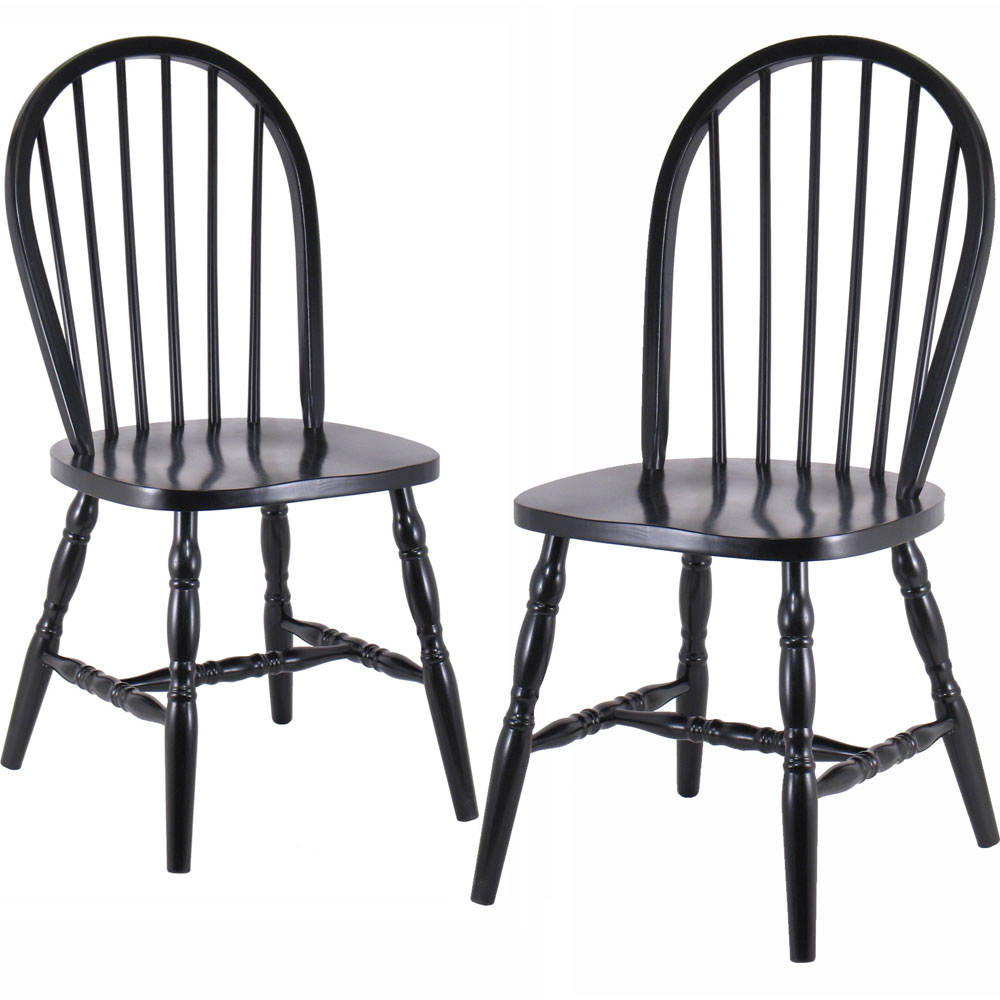 Spindle Back Dining Chairs - Black (Set of 2) in Dining Chairs