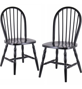 Spindle Back Dining Chairs - Black (Set of 2) Image