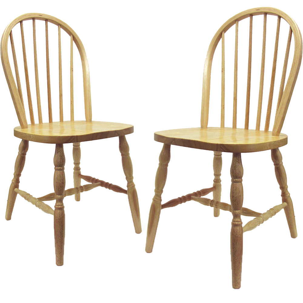 Spindle Back Dining Chairs Natural Set Of 2 In Dining