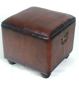 Square Faux Leather Ottoman with Lid by International Caravan Image