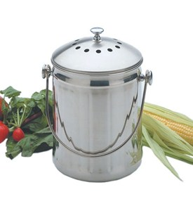 Stainless Steel Kitchen Compost Pail Image
