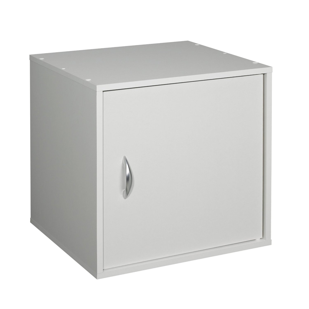 Stackable One Door Storage Cube   White Image