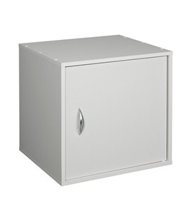 Stackable One Door Storage Cube - White Image