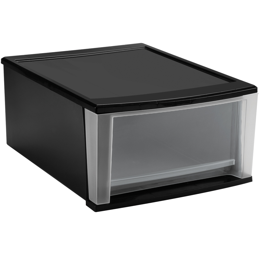 Stackable Plastic Storage Drawers Black Image